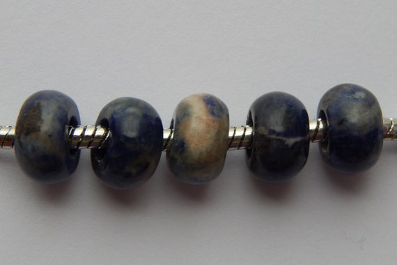 10 Pieces of 12mm Large Hole Gemstone Beads, Blue and White Color Sodalite, European Style, 5mm Hole Size, Rondelle Shape