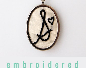 Gift for Mom, Embroidered Initial Necklace. Personalized Jewelry. Customizable Gift. Stitched Monogram Pendant. Embroidered Letter Pendant