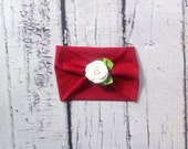 Christmas Red and White Rosette Extra Wide Jersey Knit Rose Flower Headband Headwrap baby, toddler, girl's, adult