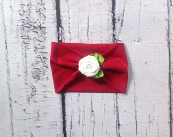 Red and White Rosette Extra Wide Jersey Knit Rose Flower Headband Headwrap baby, toddler, girl's, adult