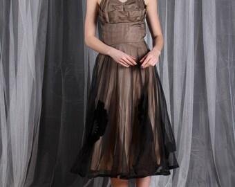 Dress 1950s Vintage 50s Nude Illusion Full Circle Skirt Crumb Catcher Black LBD Prom S Small