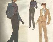 1970s Christian Dior Vogue Paris Original Tapered Pants Cuff Jacket Bow Blouse Round Neck Vogue 2022 B 34 Sz 12 Label Vintage Sewing Pattern