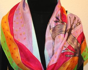 Silk Scarf Handpainted. Orange, Green, Violet Hand Painted Shawl. Handmade Silk Wrap RAINBOW LANDSCAPE. 11x60. Birthday Gift Mother's Day