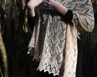 Apricot light orange golden hand knitted merino wool cashmere silk estonian haapsalu motif gossamer lace stole shawl by Kailill