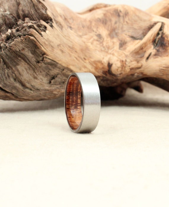 Cobalt Wooden Ring Lined with Exhibition Grade Koa