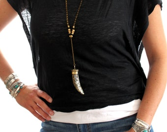 Tibetan Long Mosaic Tusk  pendant necklace in Vintage bronze & White  stone Bohemian statement piece Free people inspired designed by Inali