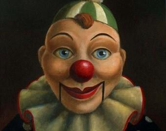 Clown Print, Ventriloquist Dummy Portrait, Clown Puppet, Ventriloquist Puppet, Pop Surrealism, Unusual Art,