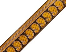 Sewing Supply Jacquard Mustard Ribbon Trim Paisley Pattern Woven Sari Border Tape By 1 Yard RT162B
