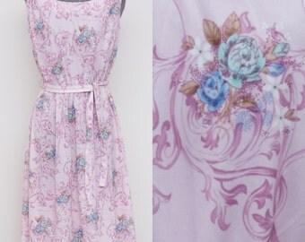 Vintage 70's Light Purple Floral Dress
