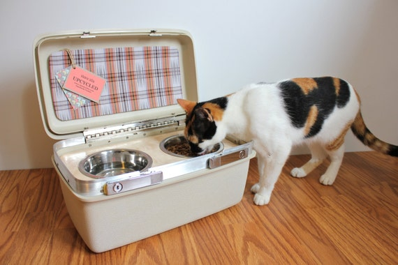 Upcycled Vintage Train Case Pet Feeder By Atomicattic On Etsy