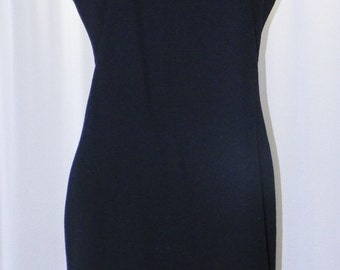 Limited Fully Lined Jet Black Wool Dress U.S.A. Made Deadstock Unworn