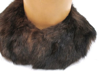 Retro Faux Fur Removable Collar, 1950s Peter Pan Style, Winter Fashion Accessory, Dark Brown, Lined