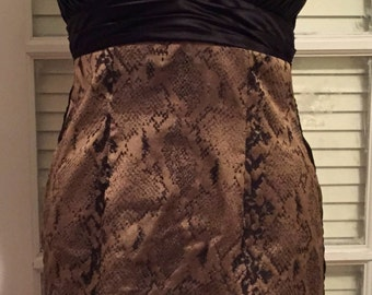 Dress with pleated bodice and snake print skirt size 2