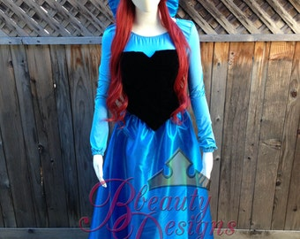 Ariel Kiss the Girl in Taffeta with Taffeta Bow Hairclip Adult Costume Version B