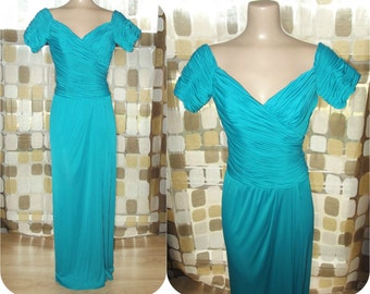 Vintage 1970s Gown   70s Cocktail Dress   Turquoise Draped Grecian Jersey Formal   Size 8 S/M   DESSY Creations