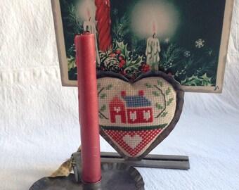 Vintage pair of tin Christmas decor  heart tin candle holder  heart tin frame clip
