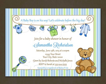 Baby Laundry Clothesline Baby Shower Invitation- for Boy - Printable File-Teddy Bear-Rattle-Pink-Yellow
