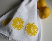 Lemon Kitchen towel hand screened