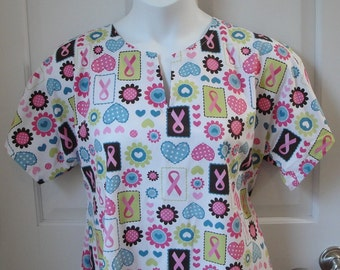 S - Adaptive Nightgown - Post Surgery - Breast Cancer,  Shoulder, Mastectomy / Special Needs / Hospital / Stroke - Style: Erin-Pink Ribbon