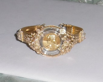 """Solid Gold Cleopatra Coin, 14kt yellow gold Bangle Bracelet 8 1/4"""""""