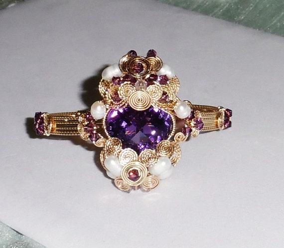 Natural 41 ct Heart CKB Purple Amethyst gemstone, 14kt yellow gold Bracelet