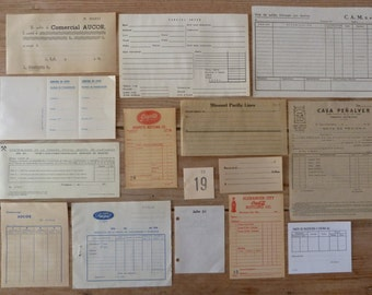 15 Office papers - BLANK - Vintage Ephemera Paper Pack - Tickets, bills, receipts, notes, cards, forms and more