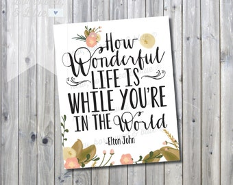 Printable How Wonderful Life is Nursery Print