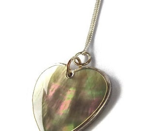 Heart Shaped Natural Shell Pendant, 1 Inch with Sterling Chain, Naturally Iridescent Black and Green with Sterling Chain