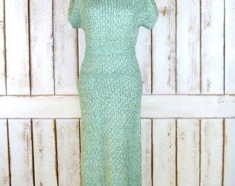 40s/50s vintage sea foam green woven ribbon midi dress/fitted short sleeve dress
