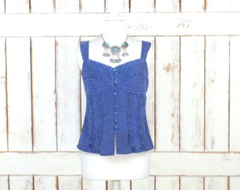 Vintage blue embroidered/crochet boho cropped cotton tank top/gypsy festival top/fitted denim top