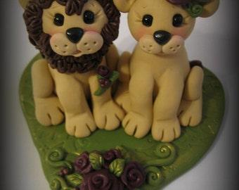Wedding Cake Topper, Lion and Lioness, Custom Lion Polymer Clay Wedding/Anniversary Keepsake
