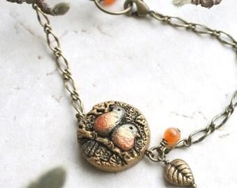Robin Bird Jewelry, Bird Bracelet, Love Birds Bracelet, Bird Lover Gift, Valentines Gift For Her, Woodland Jewellery, Lovebirds Jewelry