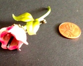 vintage flower pin pink  green enamel brooch made in Austria Valentine garden