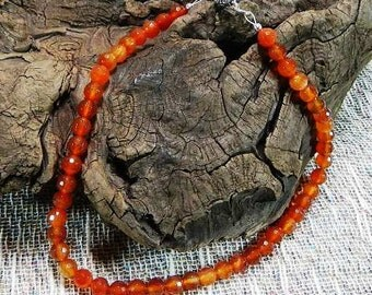 """Bright orange necklace faceted agate 16"""" long July birth stone birthstone semiprecious stone jewelry packaged in a colorful gift bag 10799"""
