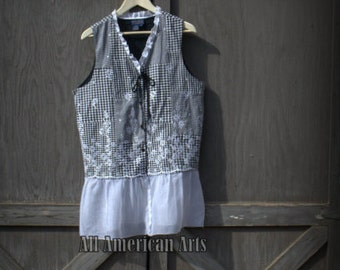 Recycled,Repurposed, Upcycled, Refashioned, Boho Ladies Vest, Tunic, Size Large