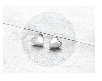 Get 15% OFF -  Sterling Silver 925 Petite Heart-shape Stud Earrings - Labor Day SALE 2016