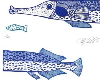 linocut, printmaking, fish, blue, white, beach house, home interior, fishing, ocean, deep sea, seaside, fins, scales, gift for him