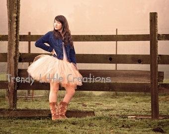 Adult Tutu  - Peach Tutu  - Ivory  Woman tutu -  Ladies Tutu  SEWN tutu Teen Tutu  tutu skirt - tulle skirt - bridal Skirt - Bridesmaid Skir