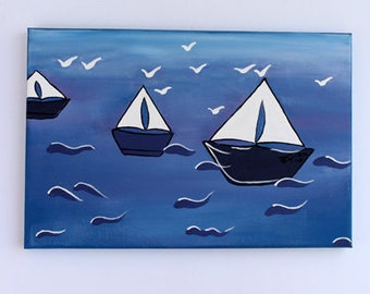 Sail Boat On Water Painting, Summer Afternoon- acrylic painting
