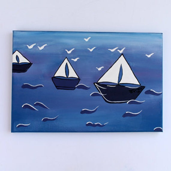 "Acrylic Painting Landscape painting 30"" x 20"", by Osnat Fox - Beautiful & Colorful  Sailboat"