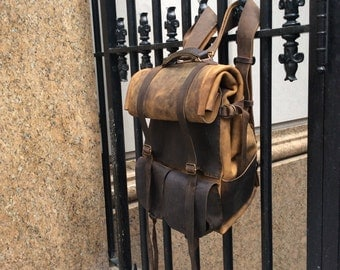 Rolltop backpack, Roll top rucksack, Leather roll top bag, Custom carryall backpack, Brown leather rucksack, Oversized backpack, Made in NY