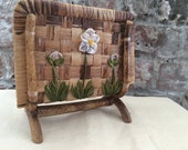 Woven Napkin or Mail Holder with Flower Detail