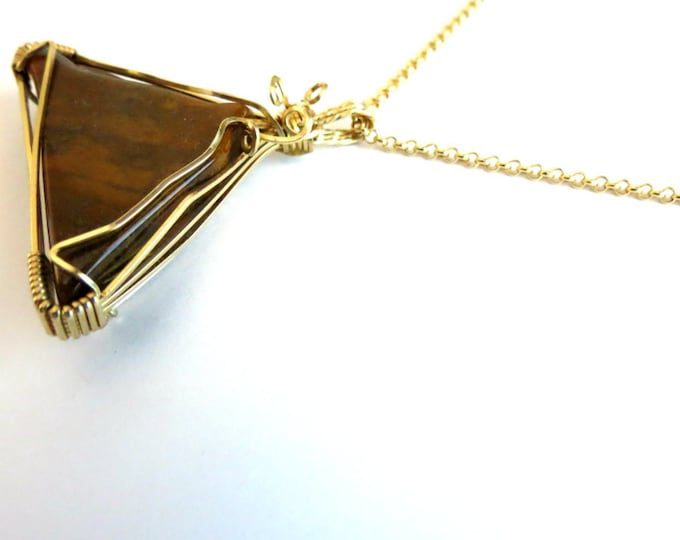 Free Chain with Brown Jasper Pendant, Mountain Peak, 14 k Gold Filled Wire work, Handmade Jewelry, Gift Idea for Girlfriend, Mother, Boho