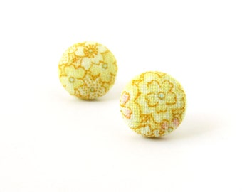Yellow stud earrings - bright button earrings - tiny fabric earrings flower - under 10