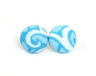 Light blue button earrings - blue studs earrings - fabric post earrings white bright mint