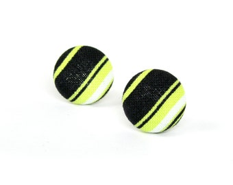 SALE Striped stud earrings - black lime white button earrings - tiny fabric earrings - bright yellow green earrings