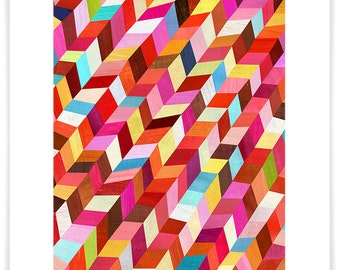Red, Red Rhombus, Geometric Art Print