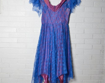 Funky Blue Plum Vintage Prom Dress Womens