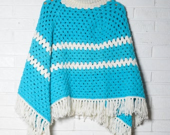 Vintage Women's Poncho Blue Knit Fringe Warm Cozy
