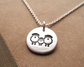 Tiny Sheep Family Necklace, Ewe, Lamb, Ram Jewelry, New Family Necklace, Fine Silver, Sterling Silver Chain, Made To Order